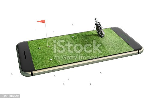 istock Mobile phone isolated screen golf game concept 3d illustration 952196356