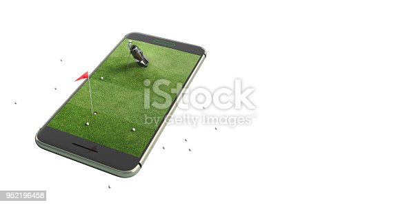 istock Mobile phone isolated screen golf game concept 3d illustration 952196458