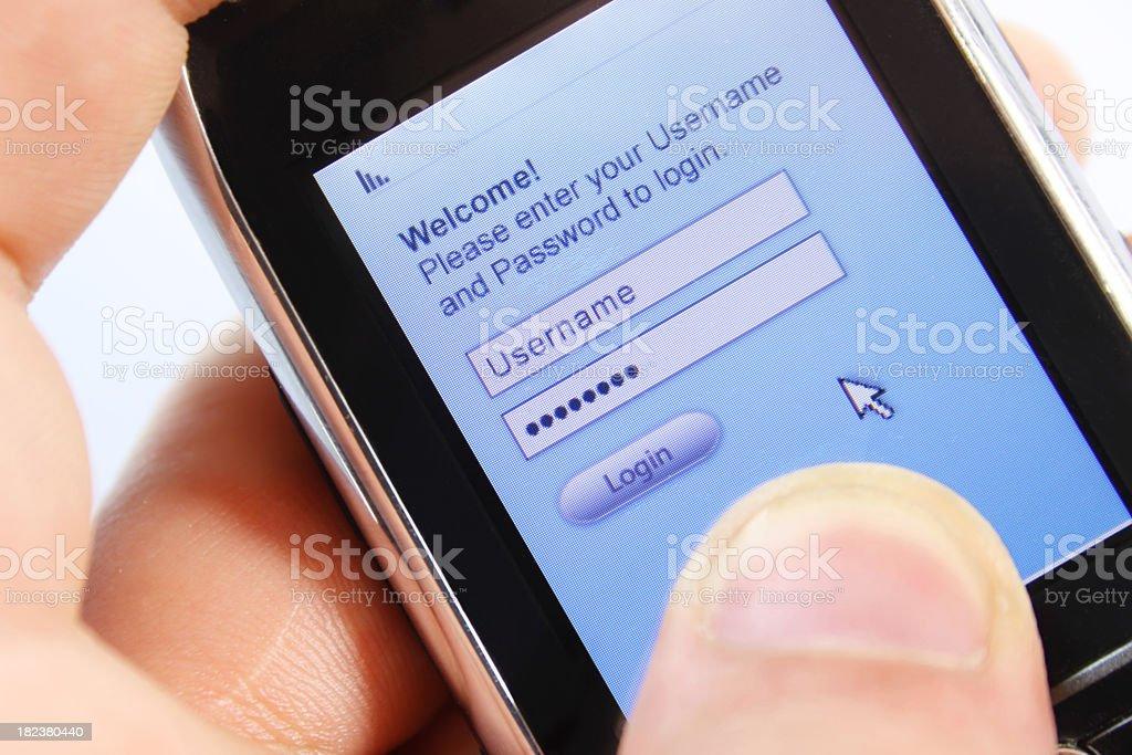Mobile phone logging royalty-free stock photo