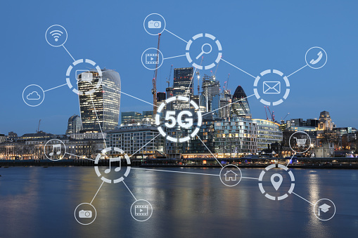 5g Mobile Phone Network Security Connection Internet Communication Stock Photo - Download Image Now