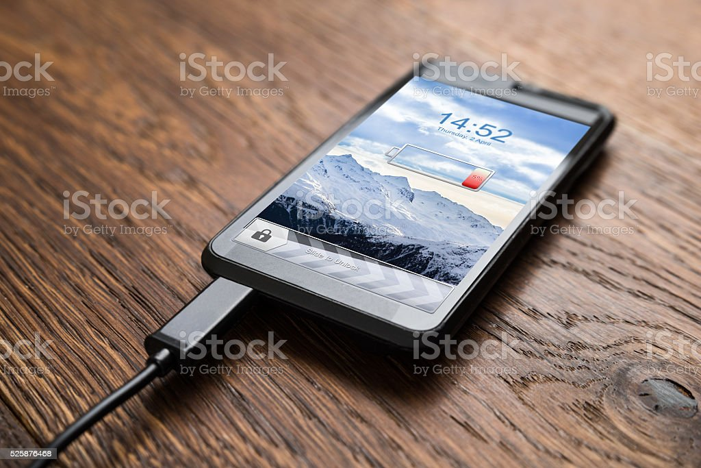 Mobile Phone On Charge stock photo