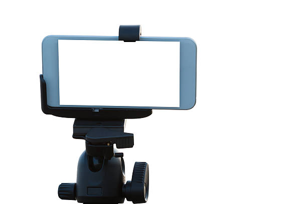 Mobile Phone on tripod isolated on white. stock photo