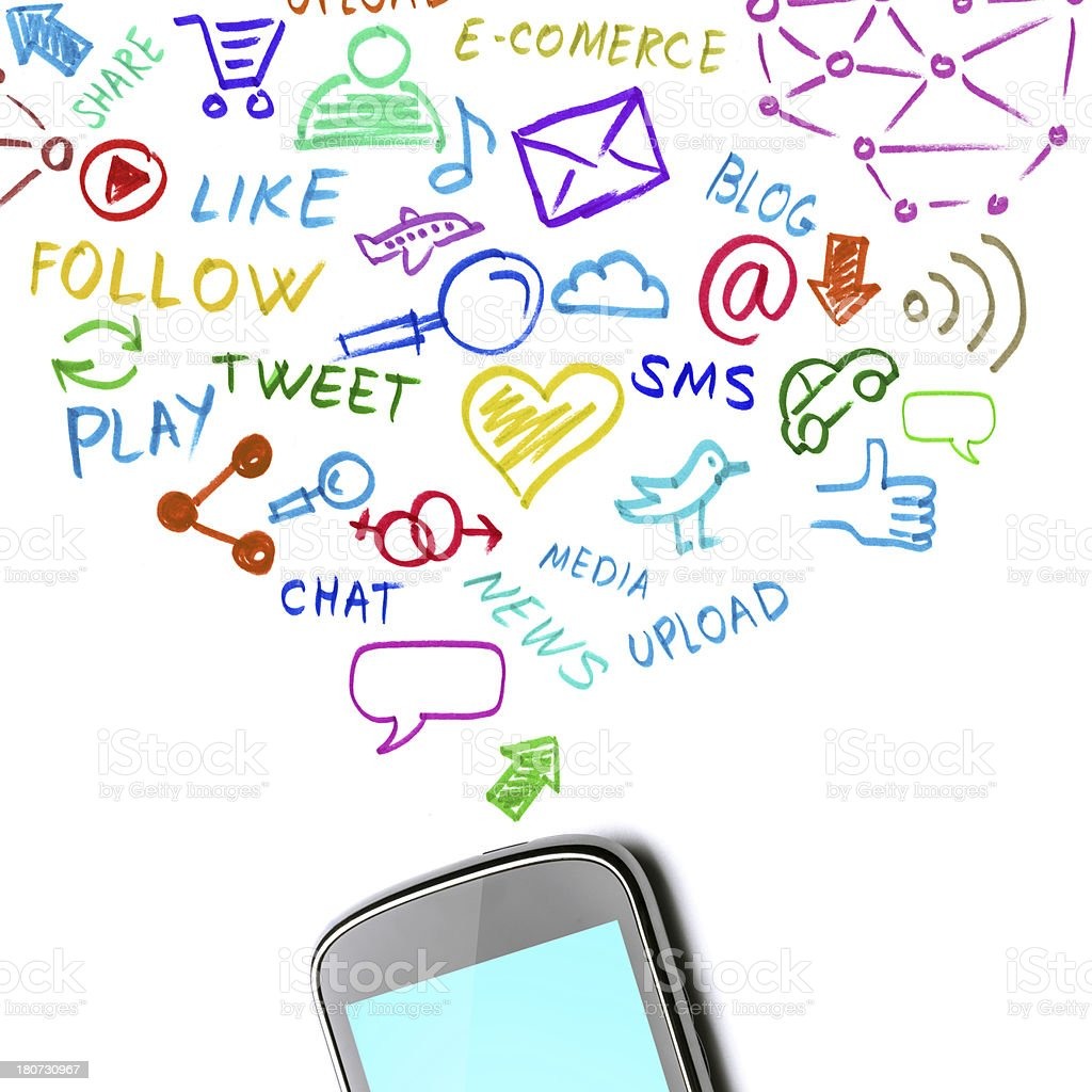 Mobile phone related words and pictures above a mobile phone royalty-free stock photo