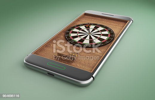istock Mobile phone screen darts game concept 3d illustration 954695116