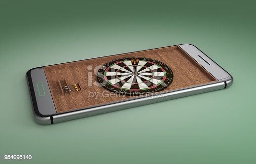 istock Mobile phone screen darts game concept 3d illustration 954695140
