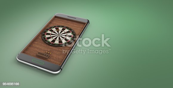 istock Mobile phone screen darts game concept 3d illustration 954695166