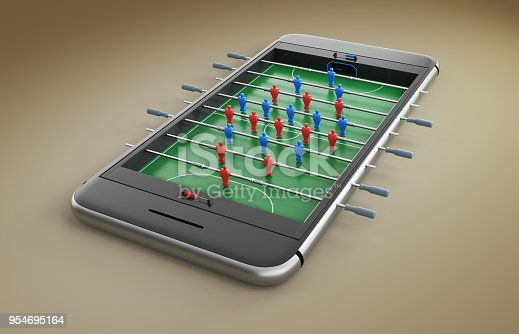 istock Mobile phone screen football game concept 3d illustration 954695164