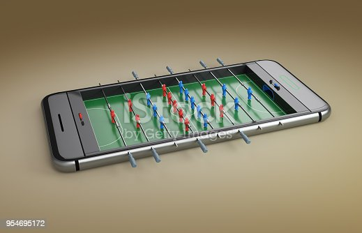 istock Mobile phone screen football game concept 3d illustration 954695172