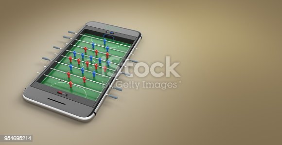 istock Mobile phone screen football game concept 3d illustration 954695214