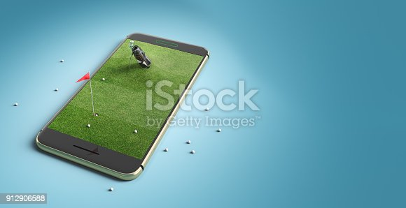 istock Mobile phone screen golf game concept 912906588