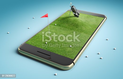 952196272 istock photo Mobile phone screen golf game concept 912906622