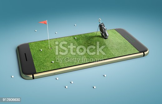 istock Mobile phone screen golf game concept 912906630