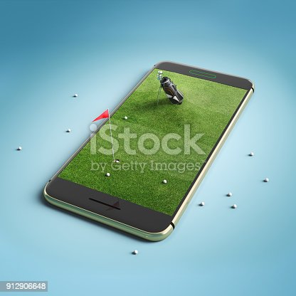 istock Mobile phone screen golf game concept 912906648