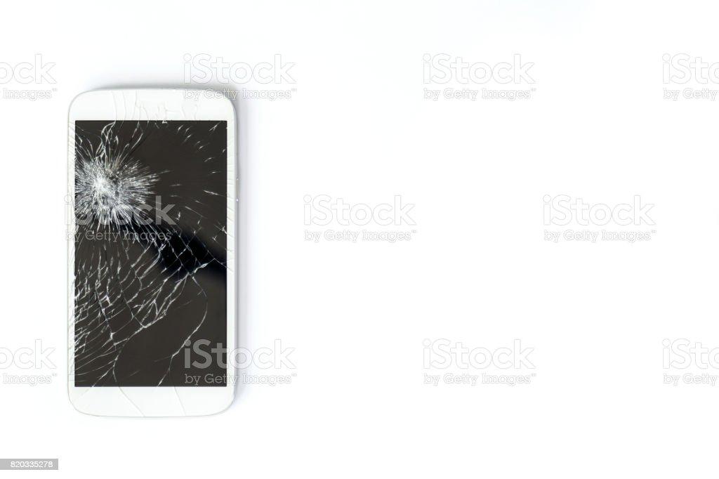 Mobile phone screen is broken. stock photo