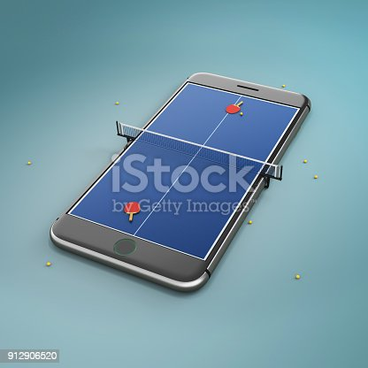 istock Mobile phone screen ping pong game concept 912906520