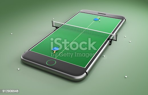 istock Mobile phone screen ping pong game concept 912906548