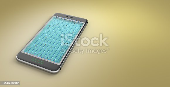 istock Mobile phone screen swimming pool game concept 3d illustration 954694832