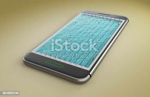 istock Mobile phone screen swimming pool game concept 3d illustration 954695246