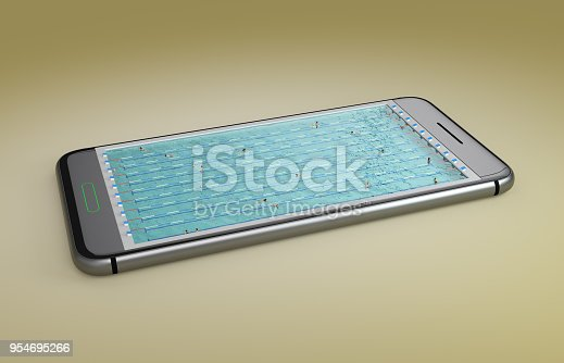 istock Mobile phone screen swimming pool game concept 3d illustration 954695266