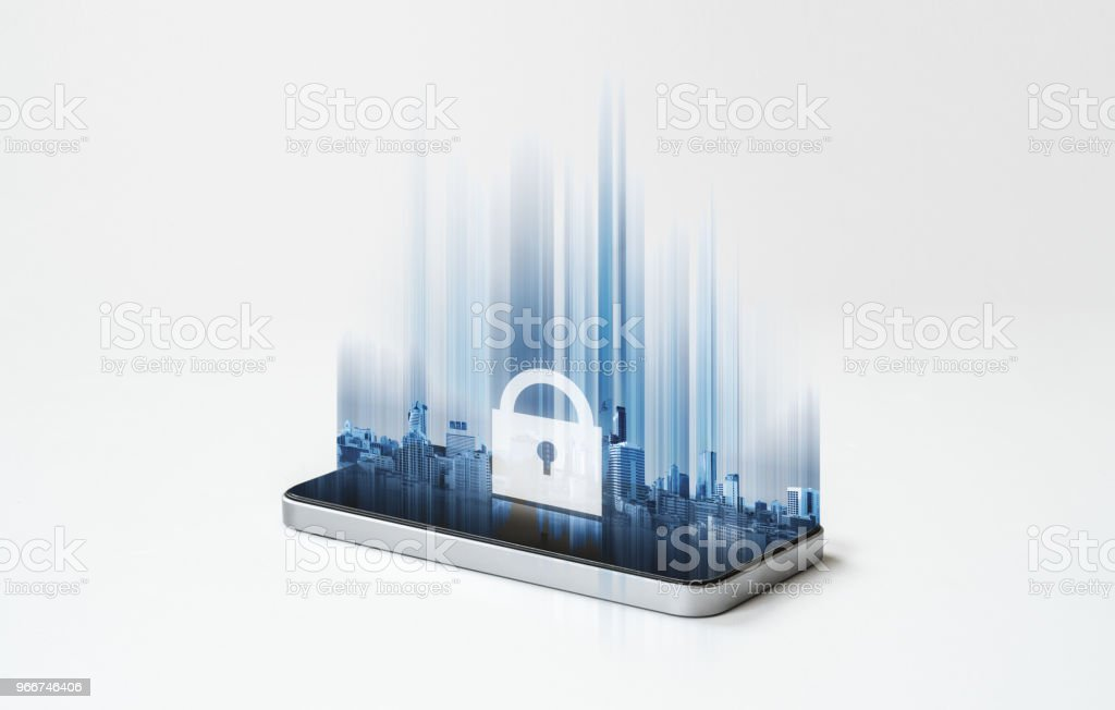 Mobile phone security system, mobile smart phone and futuristic lock icon on screen stock photo