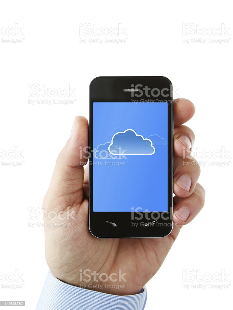 Mobile phone showing cloud capabilities royalty-free stock photo