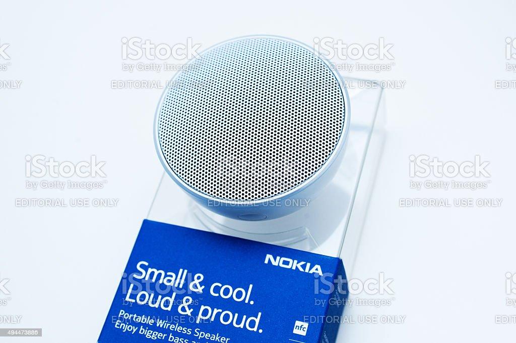 Mobile phone smartphone accesories - portable speaker stock photo