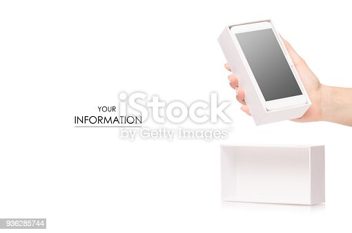 936543982 istock photo Mobile phone smartphone in box in female hands pattern 936285744