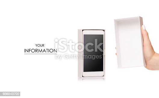 936543982 istock photo Mobile phone smartphone in box in female hands pattern 936543702