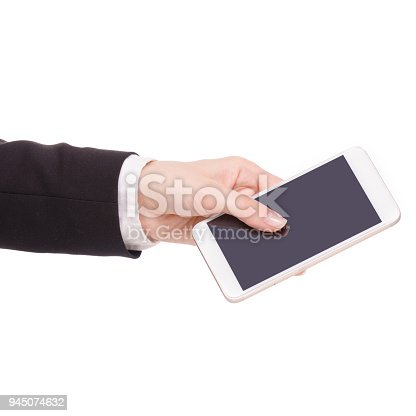 936543982 istock photo Mobile phone smartphone in hand business woman 945074632