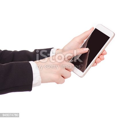 936543982 istock photo Mobile phone smartphone in hand business woman 945074780