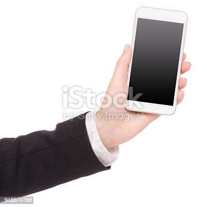 936543982 istock photo Mobile phone smartphone in hand business woman 945074788