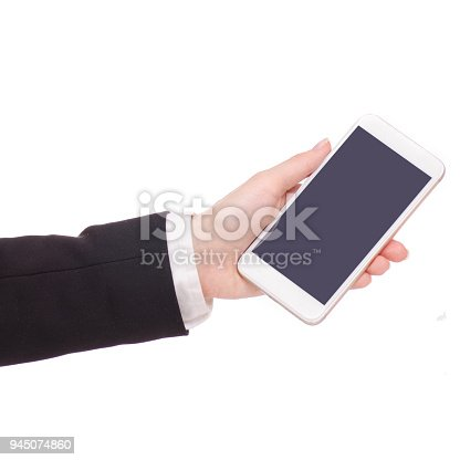 936543982 istock photo Mobile phone smartphone in hand business woman 945074860