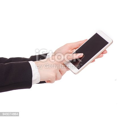 936543982 istock photo Mobile phone smartphone in hand business woman 945074864