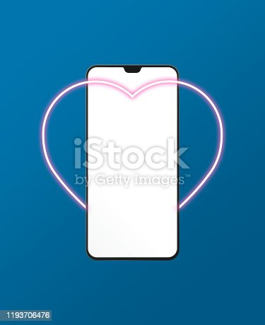 istock Mobile phone standing in Heart Shape neon light on blue background 1193706476