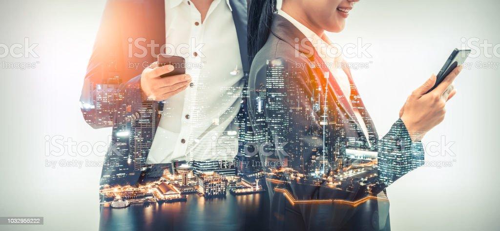 Mobile phone telecommunication technology concept stock photo