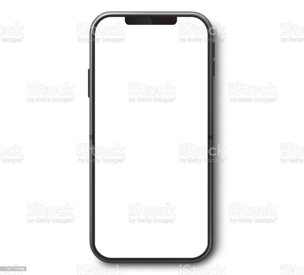 흰색 화면이 있는 휴대 전화 상단 보기 - 로열티 프리 검정 스톡 사진