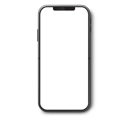 Smartphone top view with white screen.