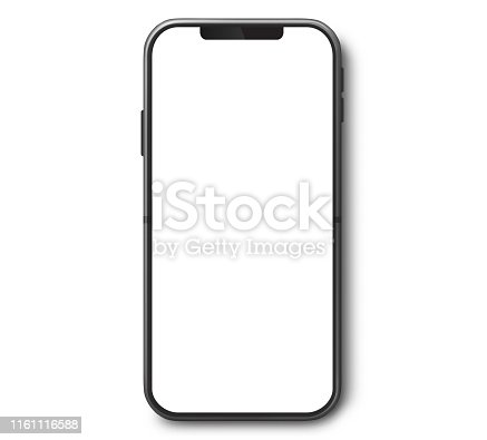 istock Mobile Phone Top View With White Screen 1161116588
