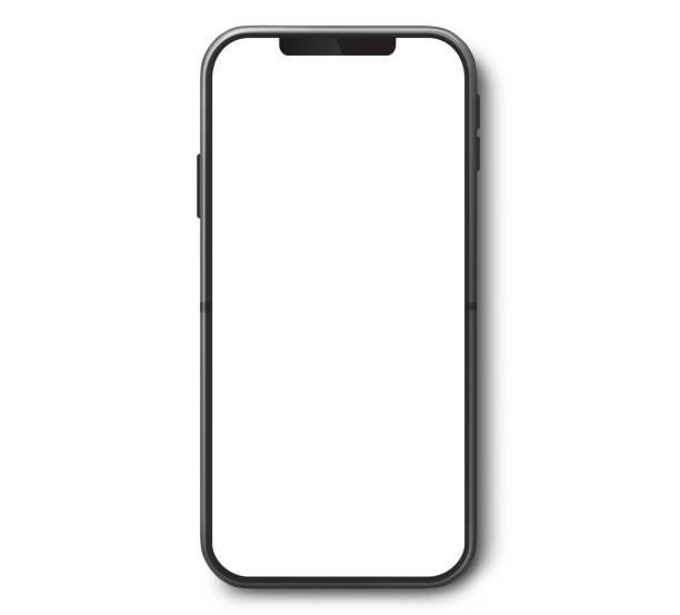 visualizzazione superiore del telefono cellulare con schermo bianco - smart phone foto e immagini stock