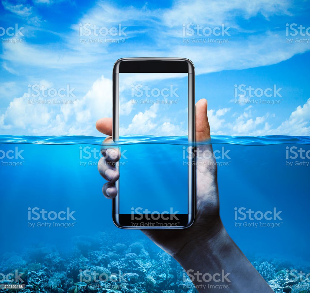 Mobile phone water-resistant with background stock photo