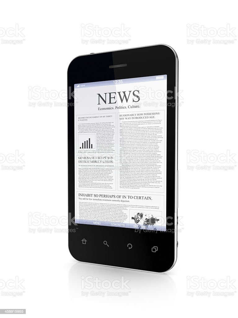 Mobile phone with a news on screen. royalty-free stock photo