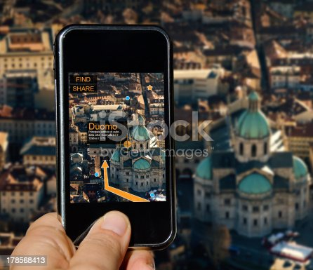 istock Mobile phone with agumented reality 178568413
