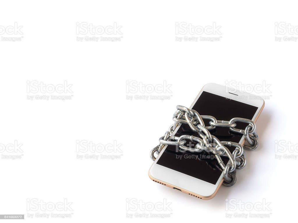 Mobile phone with chain locked isolate stock photo
