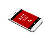 mobile phone with emergency number 112 isolated over white