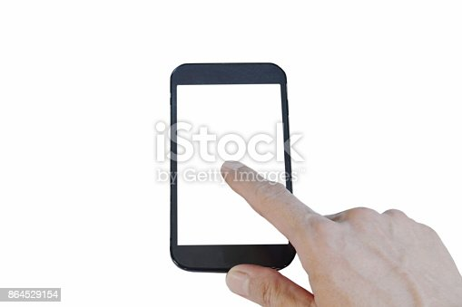 istock mobile phone with finger pointing on touch screen 864529154