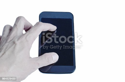 istock mobile phone with finger stretching 864529430