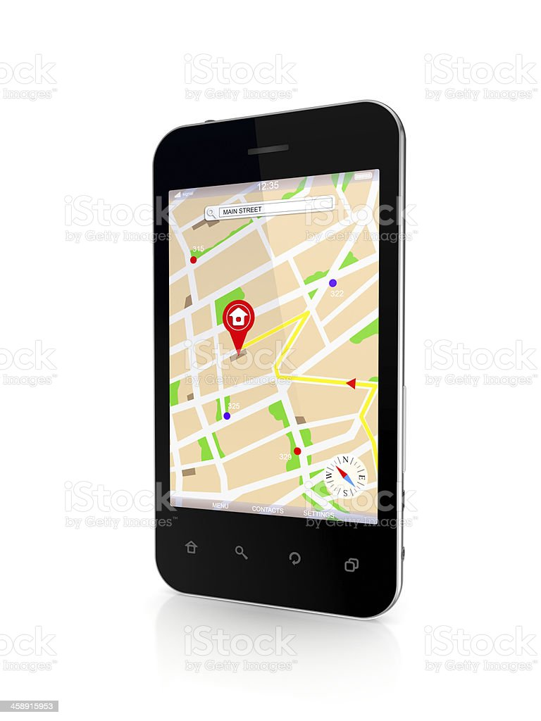 Mobile phone with GPS navigator. royalty-free stock photo