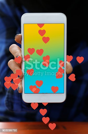 Mobile phone with red hearts