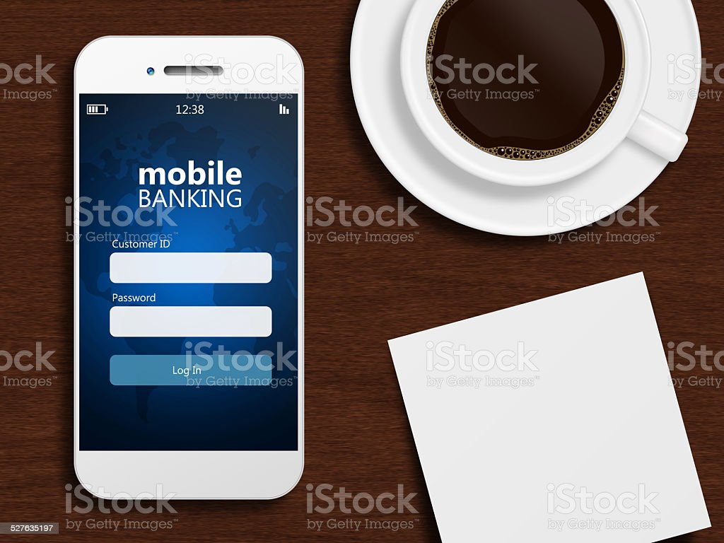 mobile phone with stock exchange screen and cup of coffee stock photo
