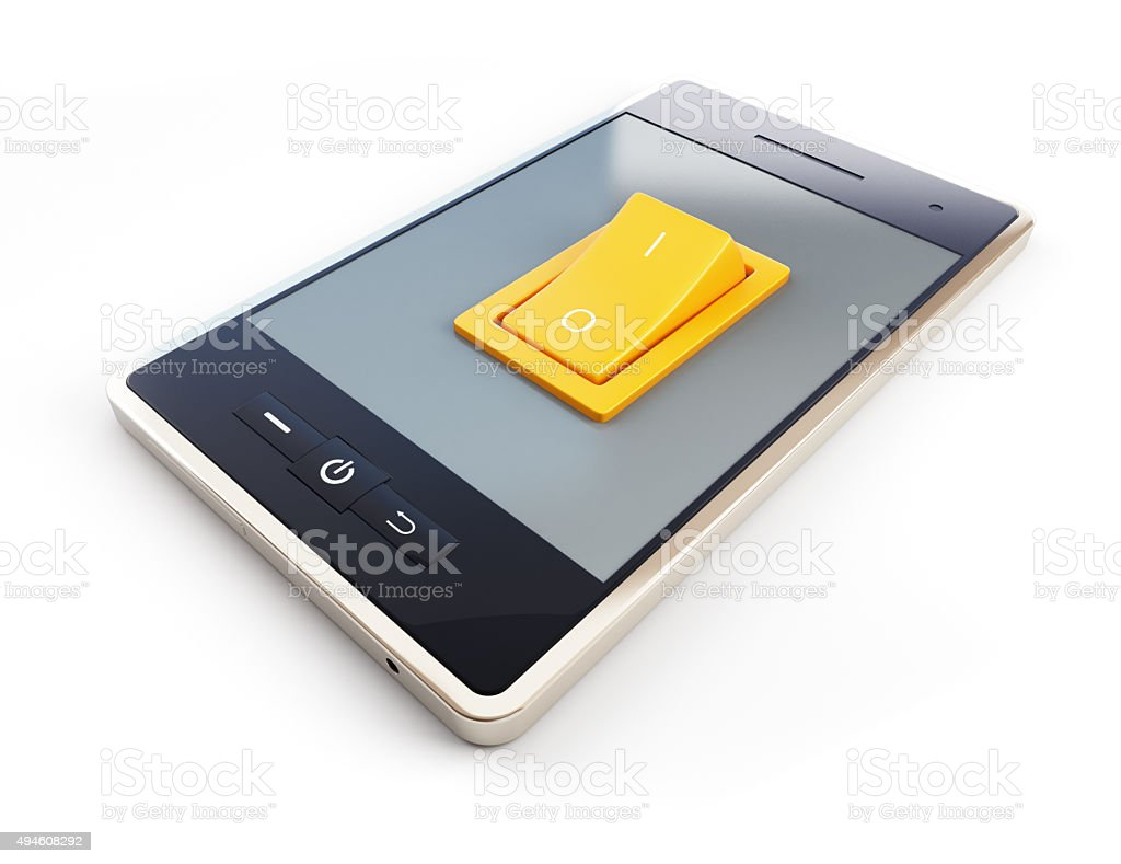 mobile phone with tumbler on white background stock photo